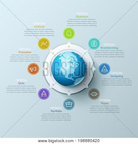 Beautiful infographic design layout with sphere in center, 8 arrows pointing at line symbols and text boxes. Eight qualities of international design company concept. Vector illustration for website.