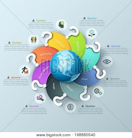 Infographic design template. Spiral multicolored elements with question mark curving around globe, pictograms and text boxes. International problems solving concept. Vector illustration for report.