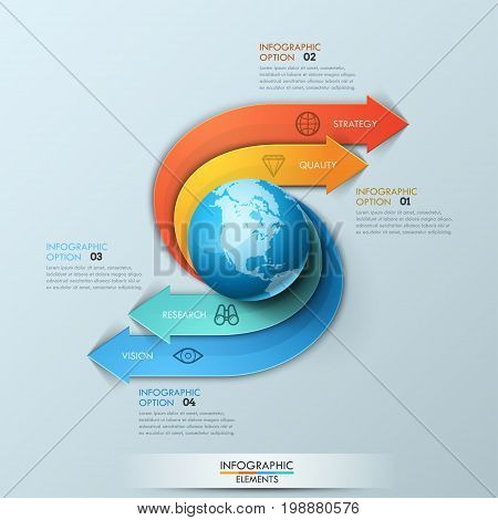 Infographic design template. Arrows originate from central element in shape of planet, go around and point at numbered text boxes. Four steps to success on global market concept. Vector illustration.