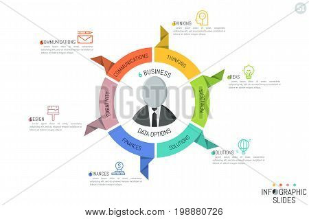 Modern Infographic design layout. Circular diagram in shape of steering wheel with 6 paper sectoral elements, pictograms and text boxes. Business management and control concept. Vector illustration.