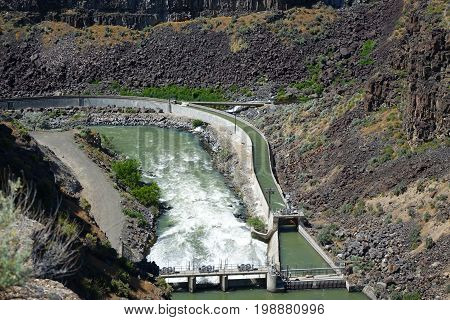 Irrigation Diversion of water from the Malad River in Southern Idaho's Malad Gorge. near the town of Hagerman.