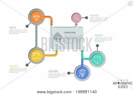 Five colorful circles with thin line icons placed around central rectangular element. Minimal infographic design layout. Structure of business process concept. Vector illustration for website, banner.