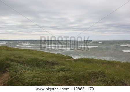 Gale force winds on a beach on Lake Superior