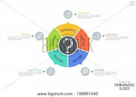 Round diagram divided into 5 multicolored sectoral elements with arrows pointing at icons and text boxes. Minimal infographic design layout. Vector illustration for website, banner, brochure, report.
