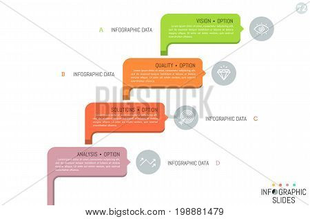 Four colorful rounded rectangles with pictograms and text boxes. Steps of business project development concept. Simple infographic design template. Vector illustration for brochure, website, report.