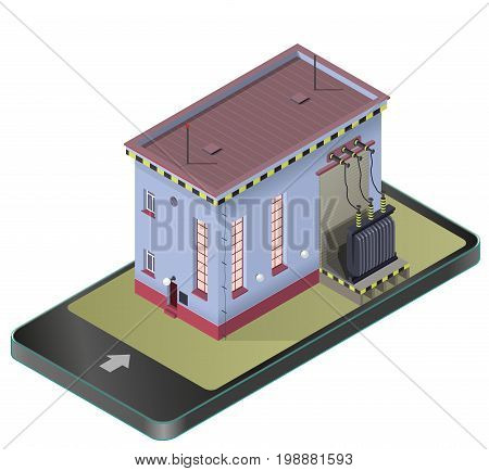 Electric transformer isometric building in mobile phone. Vector high-voltage power station in communication technology paraphrase. Old plant architecture. Pictogram industrial electricity set.