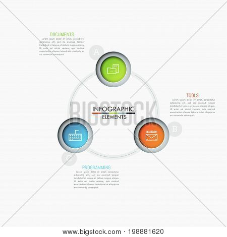Circular chart with 3 multicolored circles, thin line symbols and text boxes. Three features of software development company concept. Unique infographic design layout. Vector illustration for website.