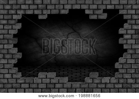 Black Brick Wall, Ruined Stone Surface, Background