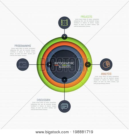 Four round elements placed one inside other, connected with thin line pictograms and text boxes. 5 steps to gaol achievement concept. Unique infographic design layout. Vector illustration for report.