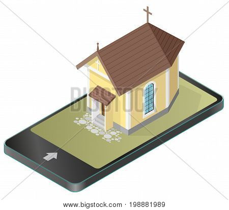 Vector Christian small church in mobile phone, in isometric perspective. Religious rural architecture, building worship of God in communication technologies, paraphrase, isolated on white background.