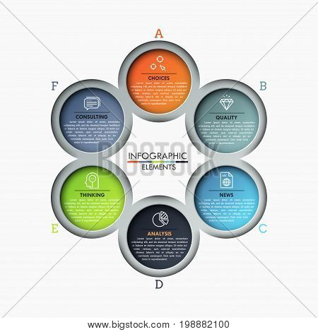 Circular chart, 6 lettered round elements with thin line icons and text boxes inside placed around center. Modern infographic design template. Vector illustration for presentation, report, website.