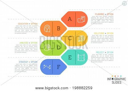 Simple infographic design template with arrow or tag-like colorful elements, thin line icons and text boxes. Corporate website menu concept. Vector illustration for brochure, presentation, report.