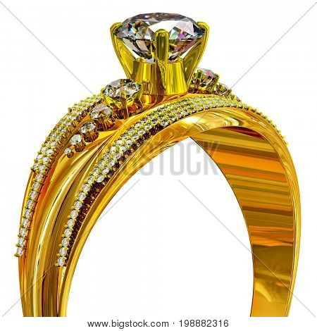 Gold ring with diamond gem. luxury jewellery bijouterie with gemstone for people in love . Upper part of ring on isolated. 3D rendering.