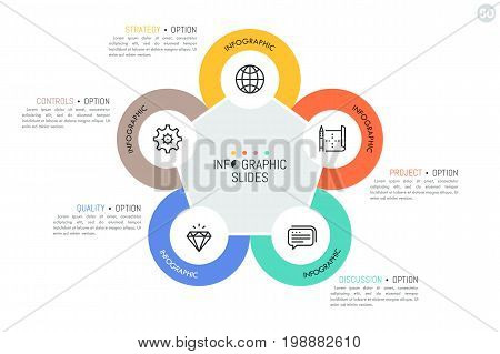 Five round elements with linear symbols inside located around pentagon. Main features of strategic management model concept. Minimal infographic design template. Vector illustration for presentation.