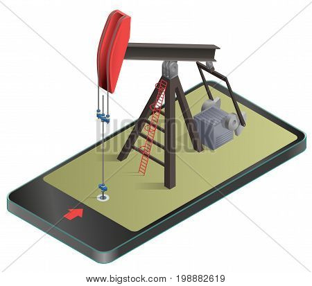 Vector oil extraction pump in mobile phone in isometric perspective. Oil well industry production, oilfield equipment in communication technology, paraphrase. Isolated illustration on white background