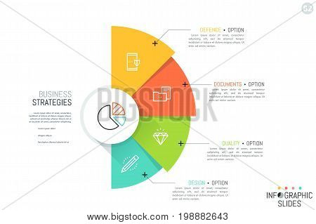 Semicircle with 4 overlapping colorful sectors, icons and text boxes. Business strategies and strategic development options concept. Infographic design layout. Vector illustration for presentation.