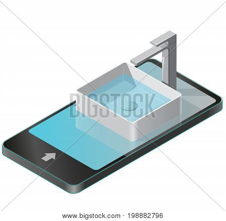 Bathroom sink in mobile phone. Isometric basin with tap and water. Kitchen interior graphic element in communication technology paraphrase. Domestic cleaner set. Isolated illustration vector on white.