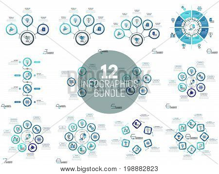 Huge collection of simple infographic layouts. Circular diagrams and charts with several elements, pictograms and text boxes. Vector illustration for presentation, website, brochure, flyer, banner.