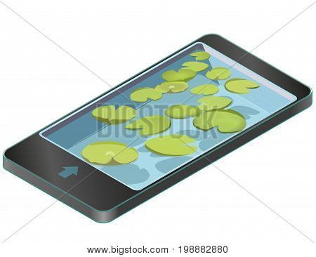 Group vector water lilies floating on water surface in mobile phone. Green low poly water lily in communication technologies, paraphrase. Water plants, isometric clumps growing on edge of pool or pond