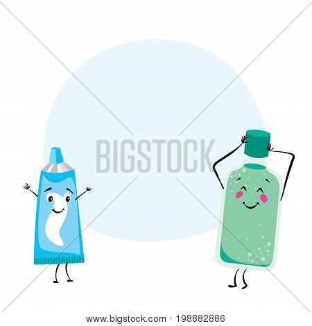 Rinse for the mouth and tube of toothpaste with funny smiles. Vector illustration for a postcard or a poster. Dentistry and oral care.