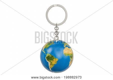 Keychain with a globe Earth 3D rendering isolated on white background