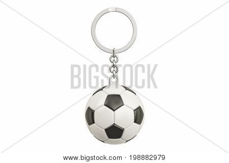 Keychain with a soccer ball 3D rendering isolated on white background