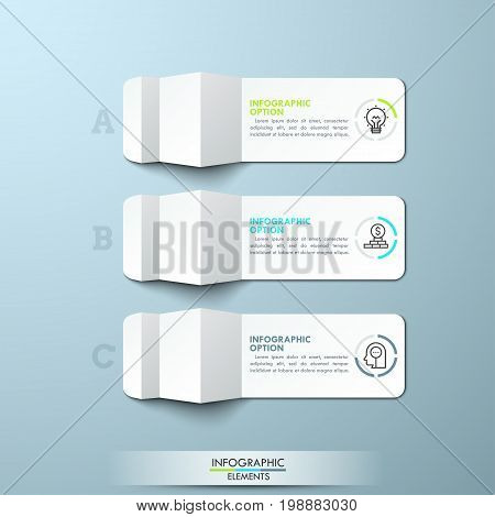 Three lettered pieces of folded white paper with thin line icons and text boxes. Minimal infographic design layout. 3 steps to business success concept. Vector illustration for report, presentation.