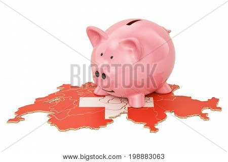 Piggy bank on the map of Switzerland 3D rendering