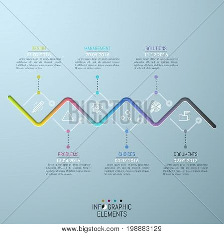 Zigzag horizontal timeline and 6 thin line icons connected by dotted lines with text boxes and date indication. Company's development progress. Unusual infographic design layout. Vector illustration.
