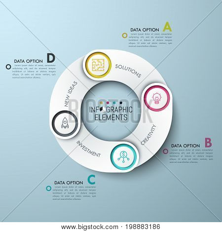 Round diagram with 4 overlaying elements, pictograms and lettered text boxes. Four features of work cycle. Modern infographic design template. Vector illustration for presentation, brochure.