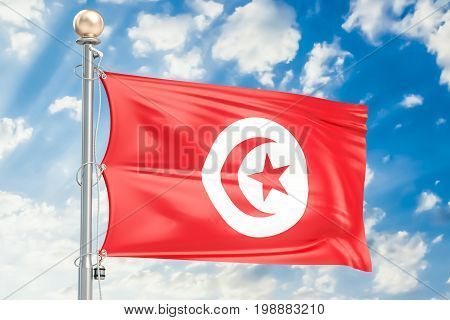 Tunisia flag waving in blue cloudy sky 3D rendering