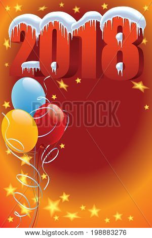 New Year 2018 with snow icicles and balloons on a red background