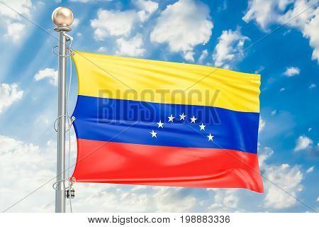 Venezuelan flag waving in blue cloudy sky 3D rendering