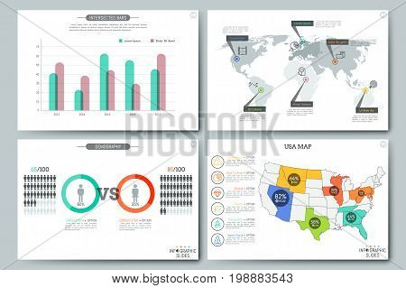 Simple infographic templates. Bar chart, world and USA maps with pins and percentage indication, elements for demographic proportion visualization. Vector illustration for presentation, website.