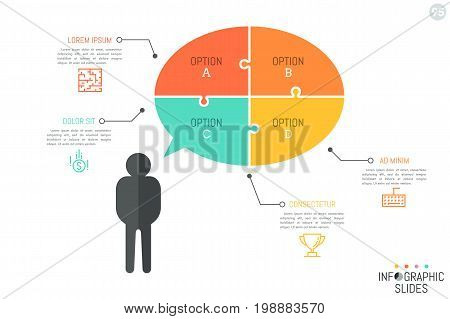 Silhouette of person with speech bubble divided into 4 multicolored jigsaw puzzle pieces, linear icons and text boxes. Simple infographic design layout. Vector illustration for presentation, banner.
