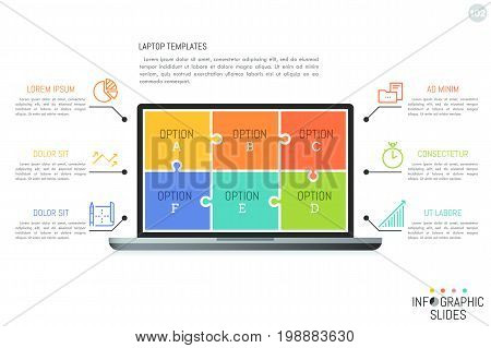 Minimal infographic design template with lettered options. Laptop screen divided into 6 colorful jigsaw puzzle pieces, icons and text boxes. Vector illustration for website, presentation, brochure.