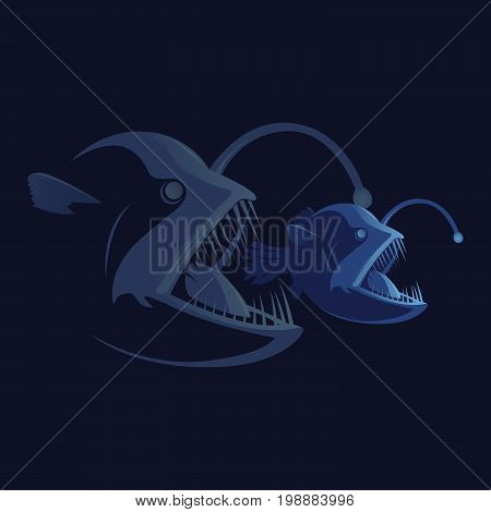Corporate business aggressive merger concept. Food chain. Bigger fish eating smaller one. Flat style vector illustration isolated on white dark background.