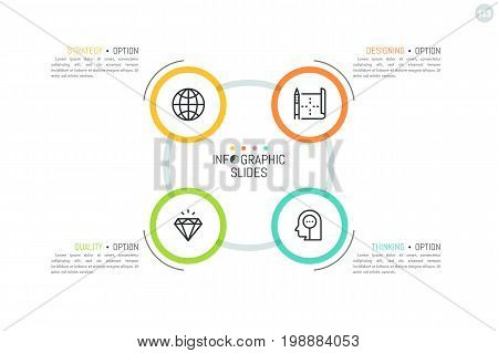 Round flowchart with 4 multicolored circular elements, linear icons inside and text boxes. Minimalistic infographic design layout. Production cycle concept. Vector illustration for report, banner.