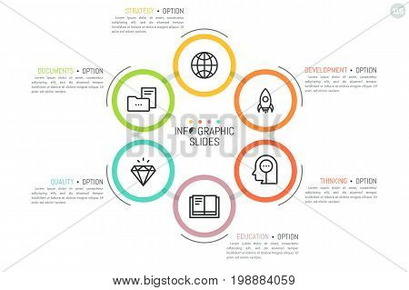 Circular diagram with 6 connected round elements, thin line symbols inside and text boxes. Simple infographic design template. Organization of business documents flow concept. Vector illustration.
