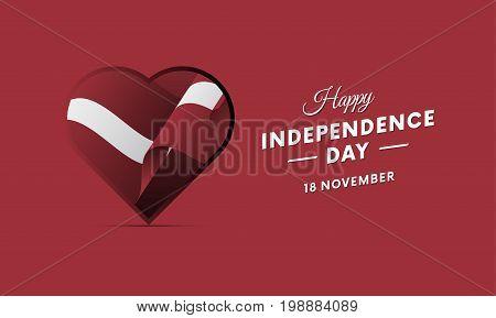 Latvia Independence Day. 18 November. Waving flag in heart. Vector illustration.