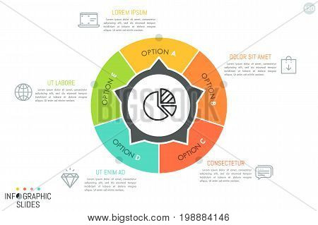 Circular chart divided into 5 pieces with arrows pointing at text boxes and linear icons. Minimalistic infographic design template. Round website menu concept. Vector illustration for report, banner.