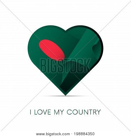 Bangladesh flag in heart. I love my country. sign. Vector illustration.