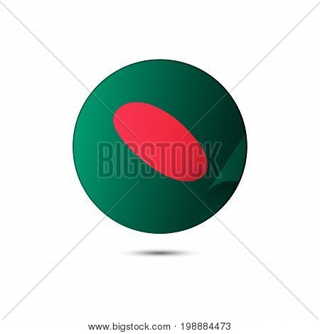 Bangladesh flag button with shadow on a white background. Vector illustration.