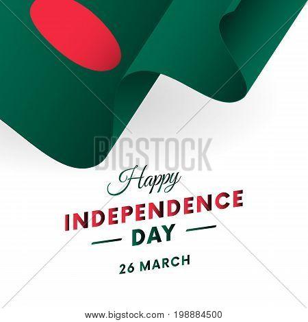 Bangladesh Independence Day. 26 March. Waving flag. Vector illustration.