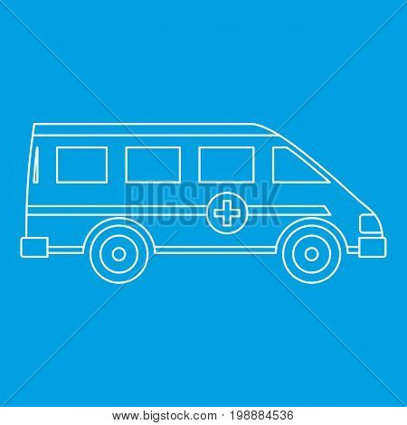 Ambulance emergency paramedic car icon blue outline style isolated vector illustration. Thin line sign