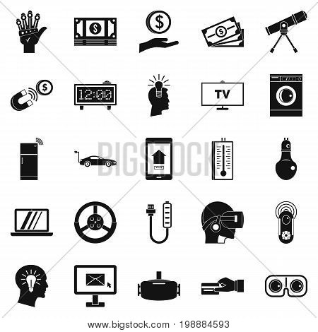 Tomorrow technology icons set. Simple set of 25 tomorrow technology vector icons for web isolated on white background