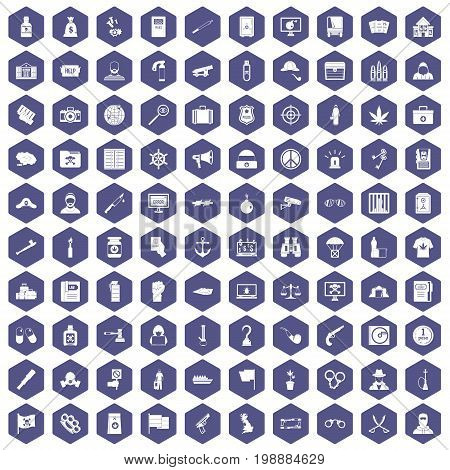 100 crime investigation icons set in purple hexagon isolated vector illustration