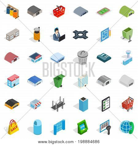City icons set. Isometric style of 36 city vector icons for web isolated on white background