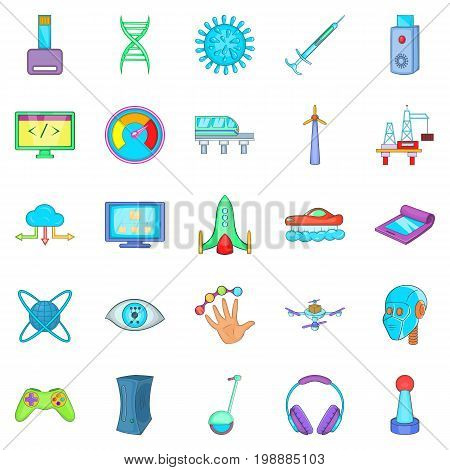 High tech industry technology icons set. Cartoon set of 25 high tech industry vector icons for web isolated on white background