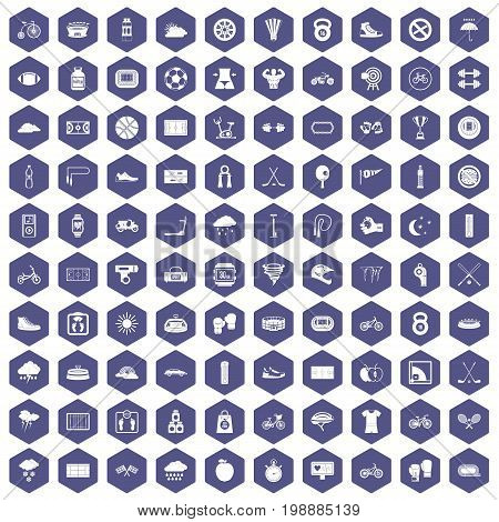 100 cycling icons set in purple hexagon isolated vector illustration